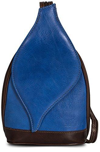 Pequeño bolso de hombro para mujer 2en1 ligero y convertible en mochila en auténtica piel italiana - Apertura magnética de typo 'hoja' - 'Kim' de LiaTalia Azul Eléctrico - Con Borde Marrón