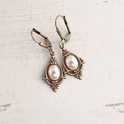 Art Deco Style Cabochon Lever Back Earrings with Czech Glass Faux Pearls in Antiqued Brass