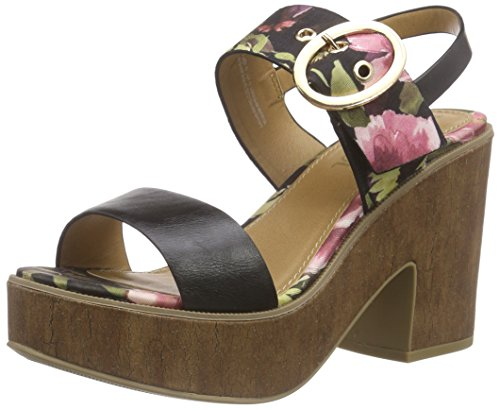 28332 Oliver Flower Women's s Black Sandals Wedge 026 Heel Schwarz Black Platform 4qU7Cx