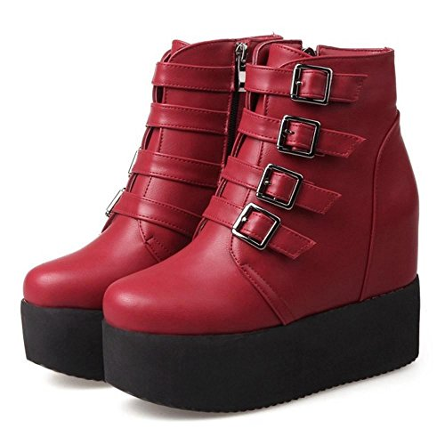 COOLCEPT Women Fashion Bootie Zipper Red 9ZU7IEnNL