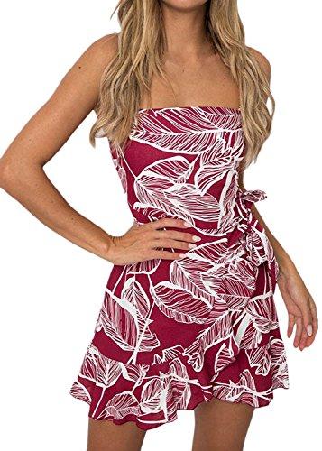Vestiti Donna Estivi Eleganti Fashion Corti Abito Da Giorno Smanicato Backless Fashionable Completi Fogliame Stampa Con Volant Casual Mini Abiti Vestito Da Spiaggia Rosso
