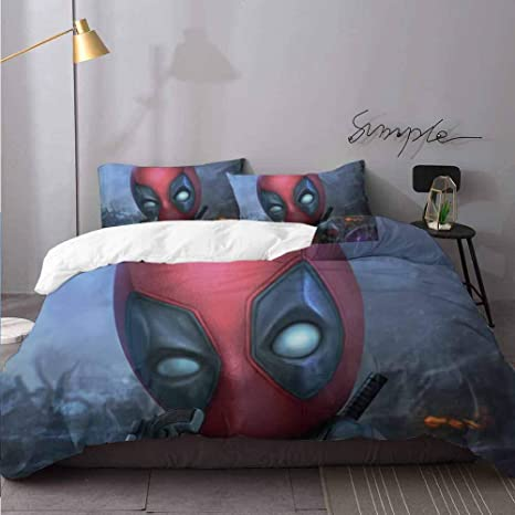 Marvel Deadpool Invasion 3 Piece Twin Sheet Set White//Gray//Red