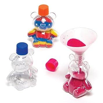 Botellas de plástico en Forma de Ositos para Decorar con Arena de Colores Que los Niños