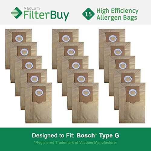 15 - Bosch Type G Vacuum Bags, Bosch part # 462544, BBZ51AFG1U & BBZ51AFG2U. Designed by FilterBuy to fit Bosch Compact, Formula, HealthGuard, Electro Duo & Plus Canister Vacuum Cleaners (Bosch Formula)