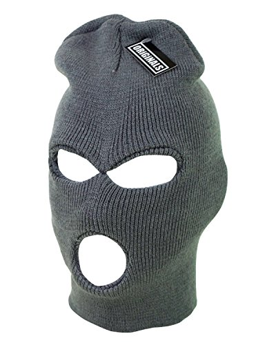 (Ski Mask Beanie Knit Cap 3 Hole Face Warm Winter Snow Headwear Skully Originals Brand (Charcoal Grey))