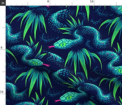 Tropical Snakes Fabric - Mr Snake in The Rainforest Green Jungle Blue Leaves Lizard Bucketfeet Animals Print on Fabric by The Yard - Sport Lycra for Swimwear Performance Leggings Apparel Fashion