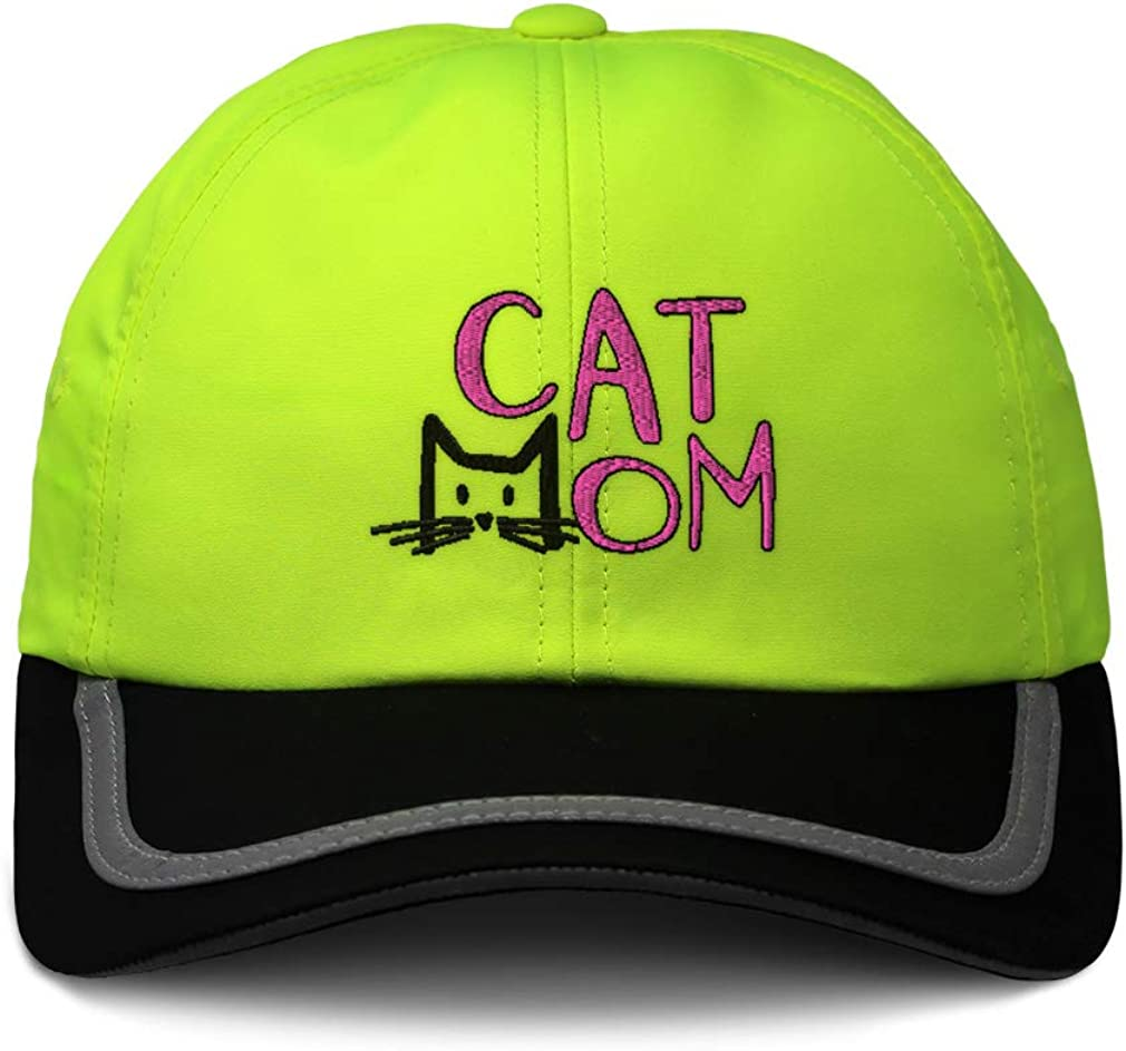 Custom Reflective Running Hat Cat Mom Head Pink Embroidery Polyester One Size