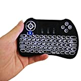 Mitid Backlit 2.4GHz Mini Wireless Keyboard with Mouse Touchpad, Backlit Remote Controller for Google/Android Tv Box, Smart TV, HTPC, IPTV, Black (Updated 2017)