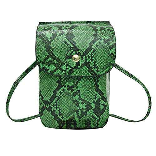 Crossbody Pouch for Women Cellphone Bags Waist Bag Soft Leather Pocket Serpentine Chest Sling Pocket with Adjustable Strap (Green) ()