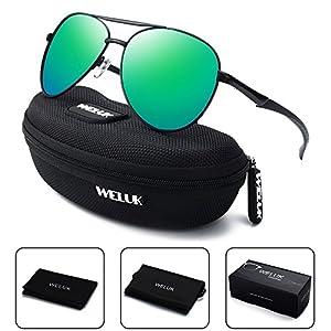 WELUK Aviator Sunglasses for Men Polarized Military Retro Mirrored Large Frame (Black & Green, 62)