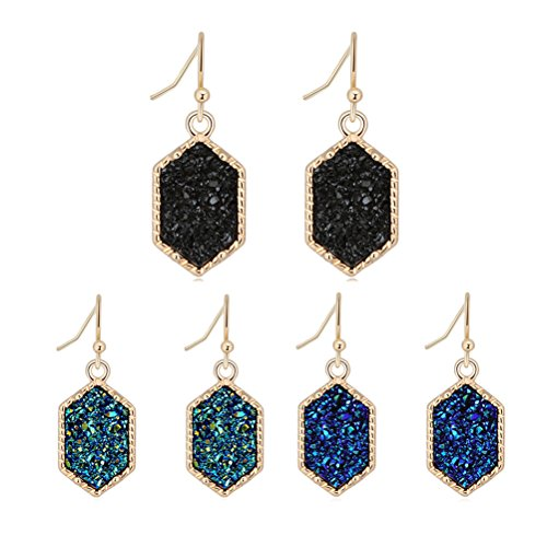 Girl's Dangle Drop Earring Faux Druzy Stone Gold Plated Hexagon Charm Black Green Blue Fashion Jewelry Birthday Gifts for Her ()