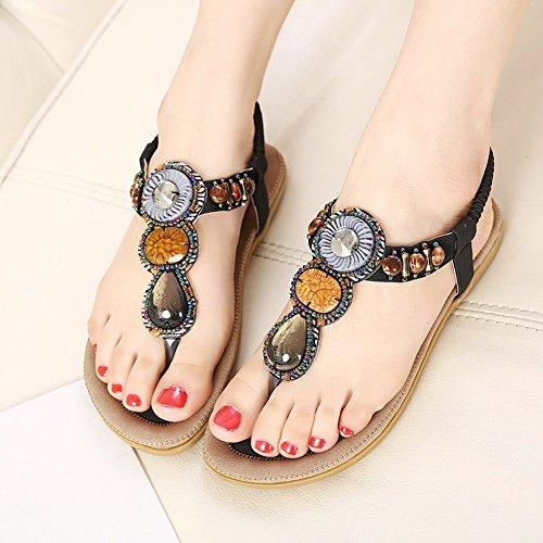 Shoes Black Aisun Bohemian Beaded Flip Beach Womens Flat Thong Trendy Flop Sandals vvqUgnrTw