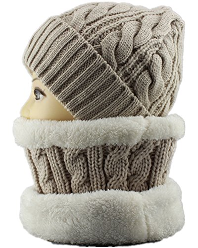 Unisex Knitted Neck Gaiter Hat Set Soft Neck Warmer Loop Scarf Beige