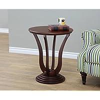 Frenchi Home Furnishing Round End Table, Dark Walnut