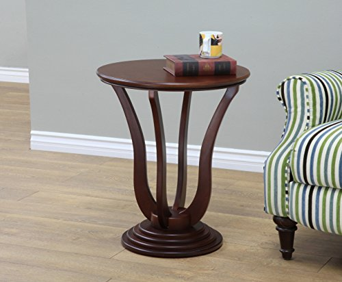 Frenchi Home Furnishing Round End Table, Dark (Living Room Walnut Sofa)