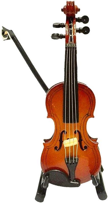 Asien Bella Violino Artificiale Vivid Simulazione Miniature Violino Giocattolo Lodge Bonus per Dollhouse Mini Strumenti Musicali 1pc