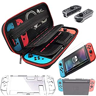 Switch Accessories Carry Case for Nintendo Switch Joy Con Covers Transparent Switch Hard Cover9H Tempered Glass Screen Protector (red)