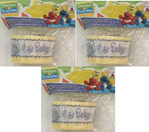 Sesame Street Beginnings Baby Shower Crepe Paper Streamers - 3 Rolls 90 Feet - Cups Sesame Beginnings Street