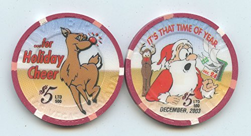 Riviera Center ($5 Riviera Christmas 2003 Happy Holidays Las Vegas Nevada Casino Chip Uncirculated Collectors Chip Real from the Casino Old Obsolete Demolished the Riviera & now part of the new convention center)