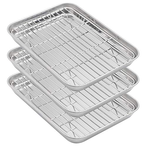 Aspire Baking Sheets and Racks Set, Stainless Steel Oven & Dishwasher Safe Wire Rack, Easy Clean-XL 3 Pcs