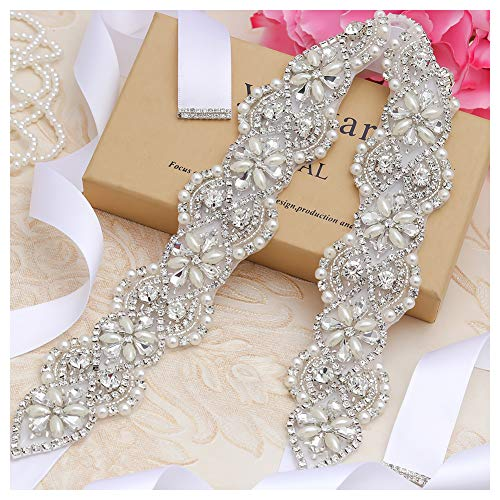 Yanstar Wedding Bridal Belts In Silver Rhinestone Crystal Pearl With White Sash For Wedding Dress Prom Gown