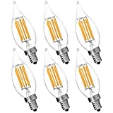6-Pack Candelabra LED E12 Bulb, Luxrite, 6W LED Flame Bulb, 2700K Warm White, 650 Lumens, 60W Candelabra Bulb LED, E12 Candle Base, UL Listed