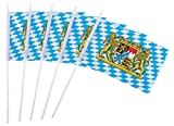 Juvale Bavarian Oktoberfest Stick Flags - 72-Piece Hand-Held German Theme Party Decoration Flags on Stick with Spearhead Tip, 8 x 5 Inches