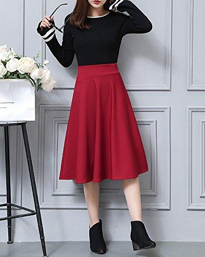 Fille Basique Taille Jupe Jupe Patineuse lgante Elastique Haute ZiXing Vintage Cocktail Plisse Vin Pliss Femmes Midi IqEdUOw