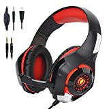 Beexcellent Gaming Headset with Mic, PS4 PC Gaming Headphones Surround Sound/Noise Reduction/Stereo Computer Bass Earphone - Volume Control LED Light for New Xbox One/PlayStation 4/Laptop/Smartphone