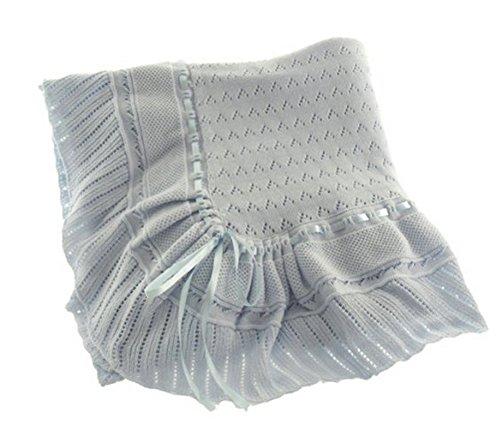 Blue Knit Shawl Blanket Baby Boy Feltman Brothers