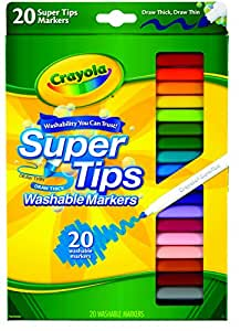Crayola Washable SuperTips Markers, 20 Vibrant Colours, Storage Box is Deal for The Classroom or Drawing at Home. Durable Conical Tip Allows for Thick or Thin line Drawing, Requested by Teachers