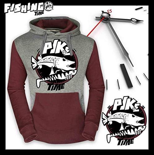 Hotspot Design Sweater Fishing Time GLANIS Kapuzensweater grau weinrot