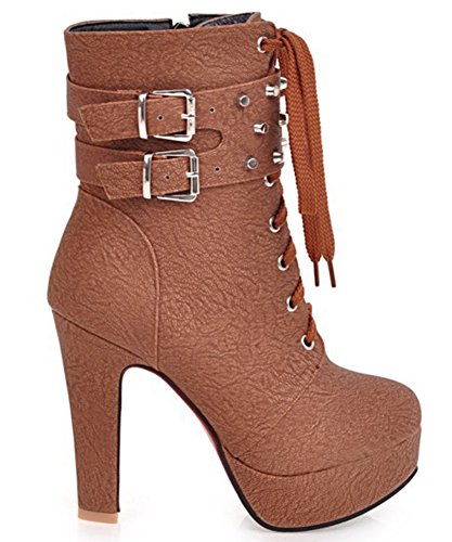 Side High Chunky Heels Platform Up Roe Aisun Chic Women's Round Boots Zipper Lace Brown High Ankle zxczCq7Pwp