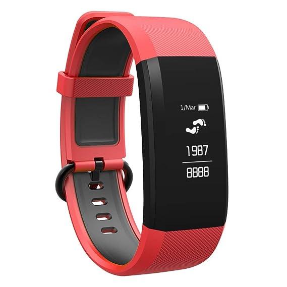 Reloj Inteligente Bluetooth Passover, Pulsera con Monitor de frecuencia cardíaca para Actividad, Reloj Android para Hombres y Mujeres, Color Rosso: ...