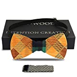 Wooden Tie ,YFWOOD Mens Handmade Bow flat Tie Wood Wedding Tie Choice Party Bow Tie Necktie(flat-zebra) (CH-check)