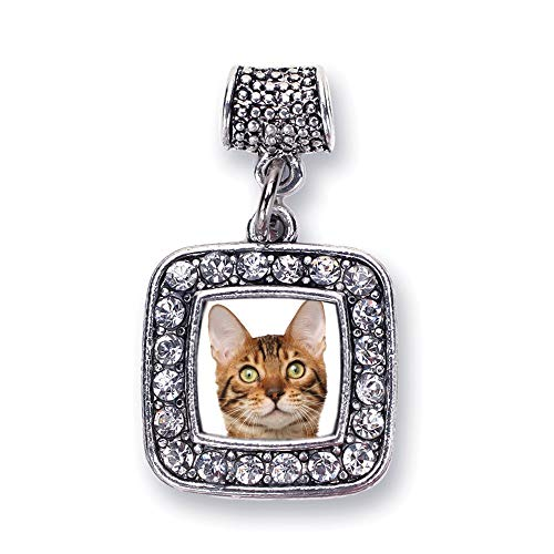 Inspired Silver - Bengal Cat Memory Charm for Women - Silver Square Charm for Bracelet with Cubic Zirconia Jewelry