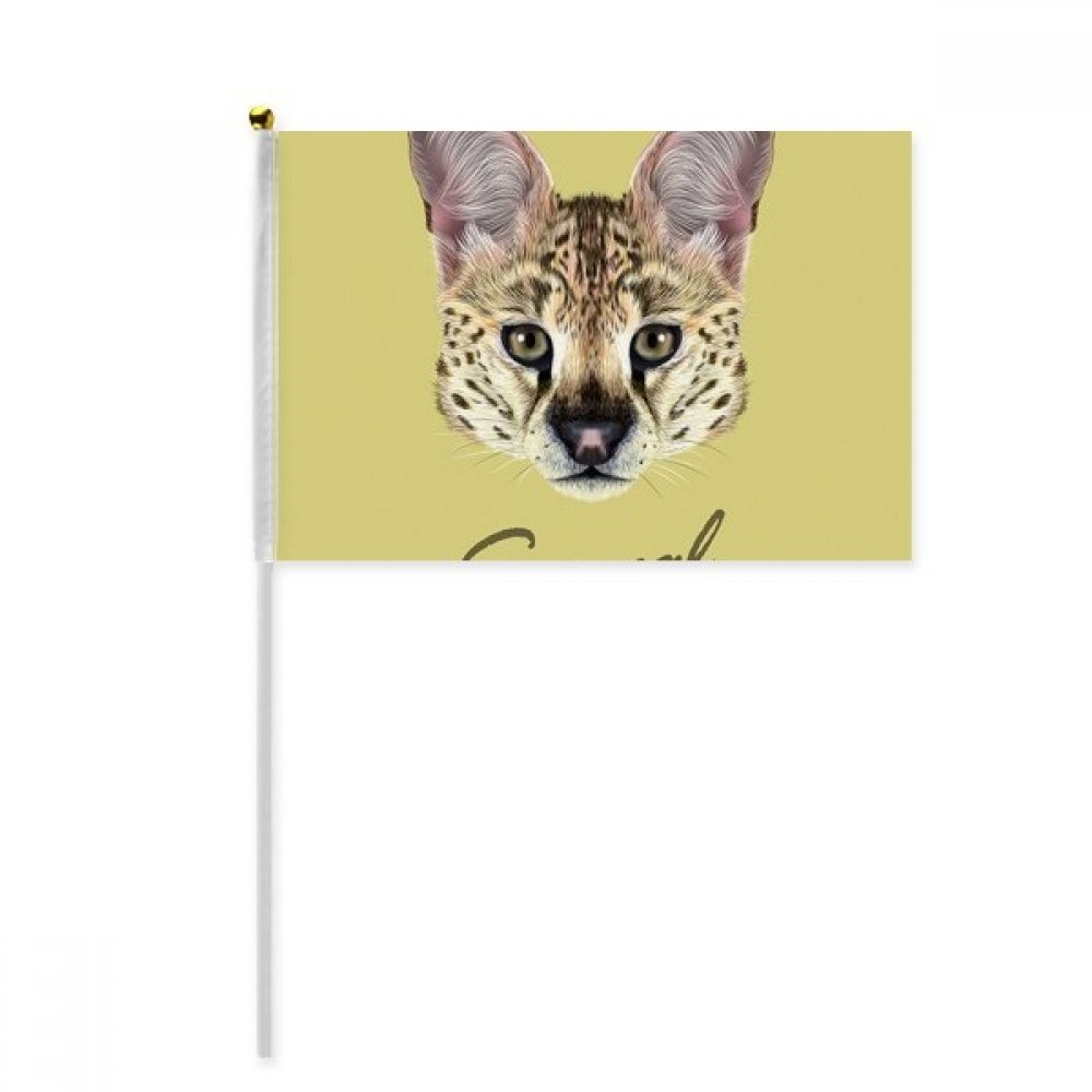 Long-eard Spotted Wild Serval Animal Hand Waving Flag 8x5 inch Polyester Sport Event Procession Parade 4pcs