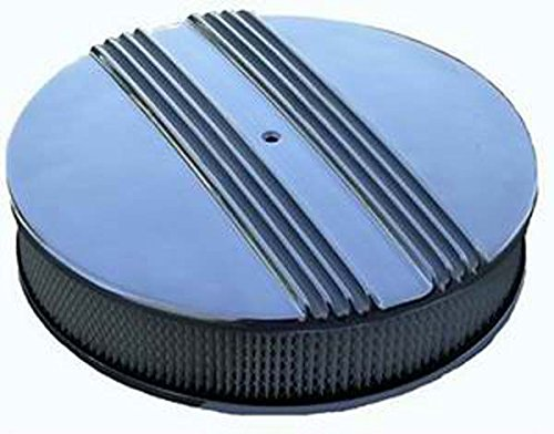 """Racing Power Company R6720 14"""" x 3"""" Round Aluminum Finned Drop Base Air Cleaner Set"""