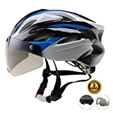 EASECAMP Cycling Bike Helmet with Detachable Magnetic Visor Goggles Shield (Blue)