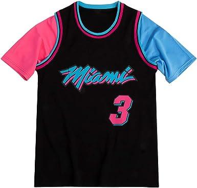 Miami Heat Dwyane Tyrone Wade Manga Corta Camiseta Hombre Baloncesto Casual Camisetas Tops, Shorts Deportivos para Hombres