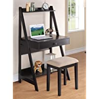 2 pc Black finish wood leaning wall desk with shelves and drawer with stool