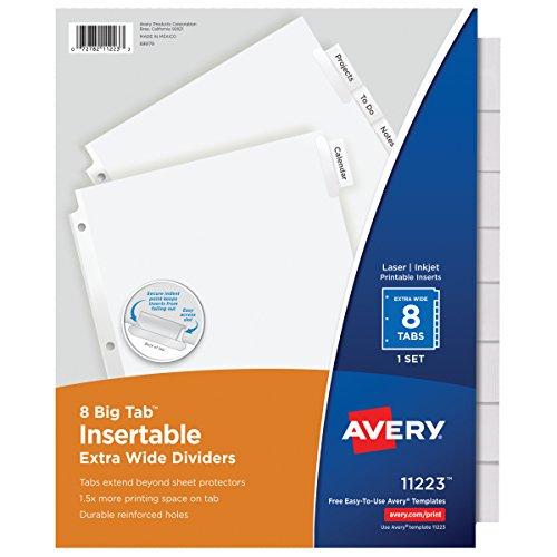 Avery 11223 Insertable Big Tab Dividers, 8-Tab, 11 1/8 x 9 1/4 (Insertable Tab Dividers)