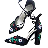 Meilidress Womens Sexy Flower Embroidery Ankle Strappy Sandals Thick High Heels Strappy Pumps Pointed Toe Shoes