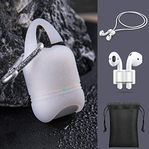 Linklike Stylish Waterproof AirPods 2 Case Cover, 5-in-1 AirPods Accessories Kits, Protective Silicone Skin [Front LED Visible] Compatible Wireless Charging Case (Clear w/Black Plug, 5in1)