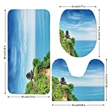 3 Piece Bathroom Mat Set,Balinese-Decor,Uluwatu-Temple-Bali-Indonesia-Seacoast-Cliff-Horizon-Summer-Seascape-Nature-Picture,Blue-Green.jpg,Bath Mat,Bathroom Carpet Rug,Non-Slip
