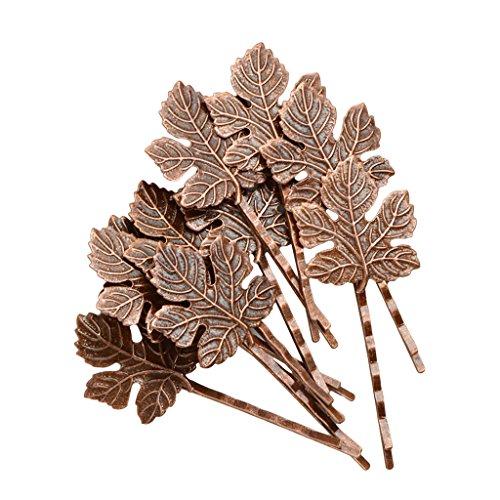 MonkeyJack 10pcs Vintage Elegant Metal Maple Leaves Hairpin Hair Clips Hair Accessories - Antique Copper, as described