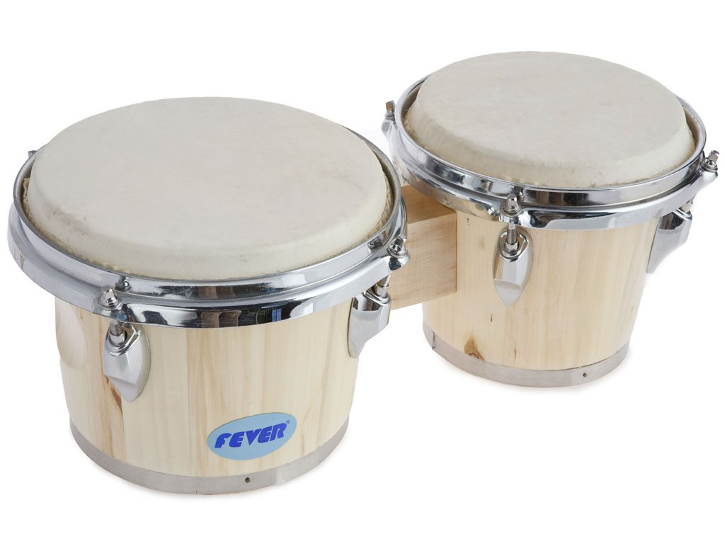 Fever Tunable Bongos 8 & 7 Inch Natural Finish, 822-NT
