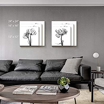 2 Panel Canvas Wall Art Black and White Flower Canvas Prints Painting Wall Decor for Living Room Wooden Framed Home Decorations - 12