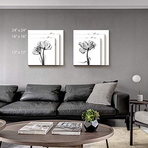 2 Panel Black and White Flower Painting Wall Decor for Living Room Wooden Framed x 2 Panels