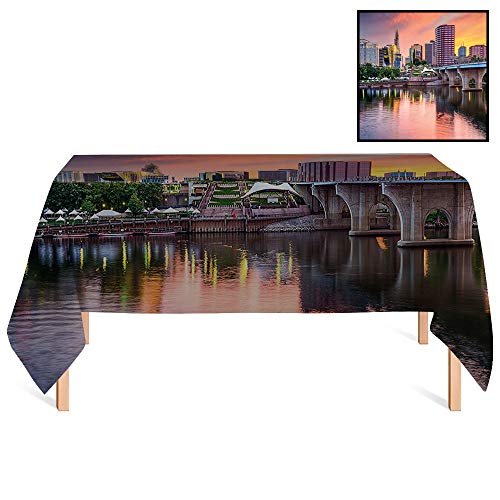 SATVSHOP Wrinkle Free Tablecloths /55x55 Square,United States Water Reflection in Evening Urban City Hartford Connecticut Tranquil Sunset ES for Wedding/Banquet/Restaurant.